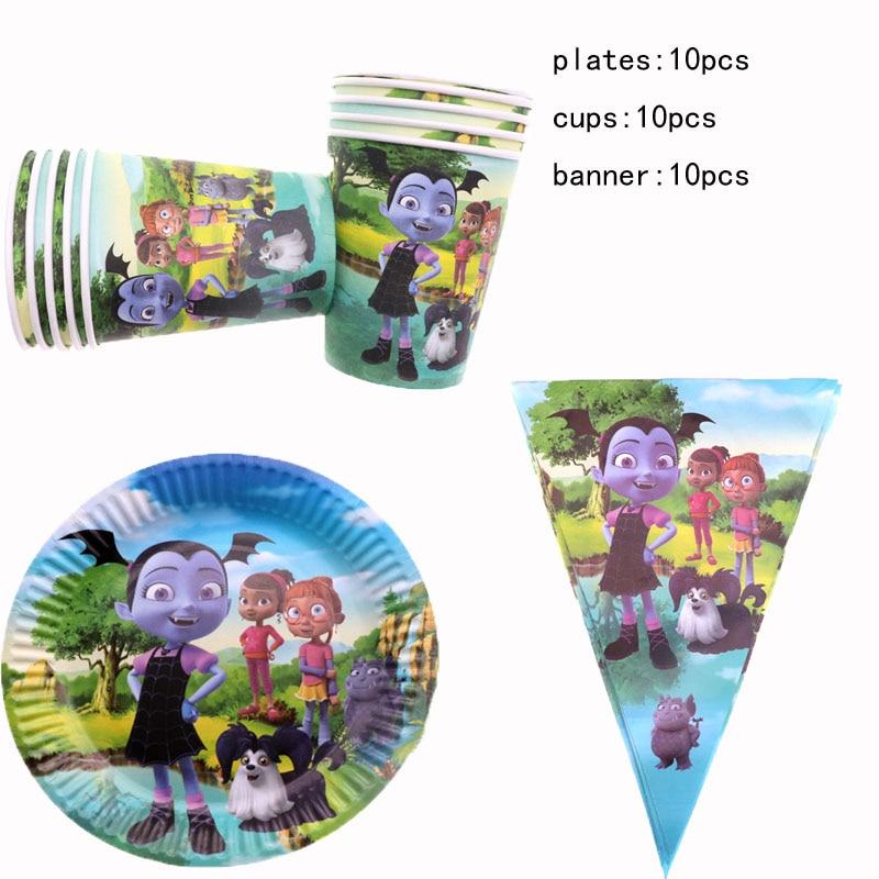 30 шт. Vampirina девушка тарелки чашки баннеры для девочек на день рождения идеи одноразовая посуда подарки вечерние поставки Свадебные украшения|Одноразовая посуда для вечеринок|   | АлиЭкспресс