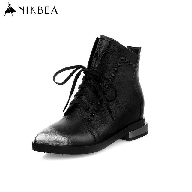 Women's All Genuine Leather Booties Lace-up Ankle Boots