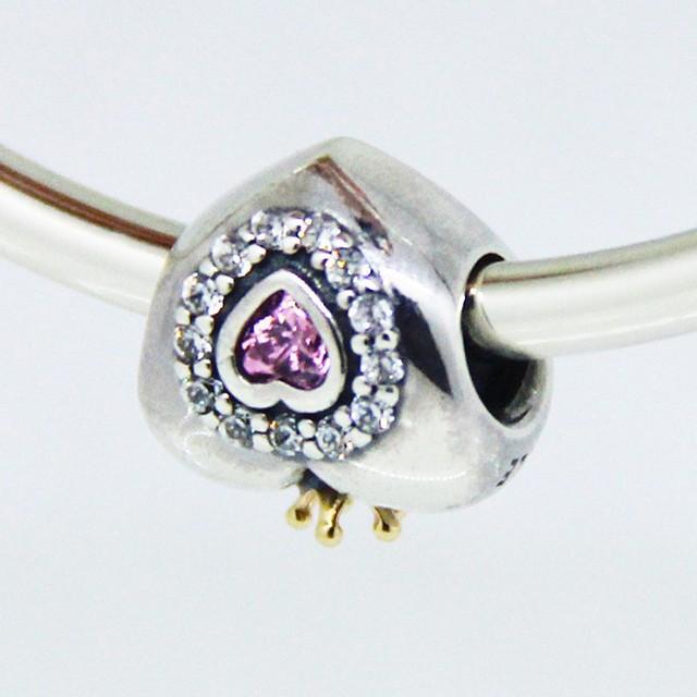 Encantos do coração original 925 sterling silver crown beads para mulheres diy jóias fazendo serve pandora encantos pulseiras