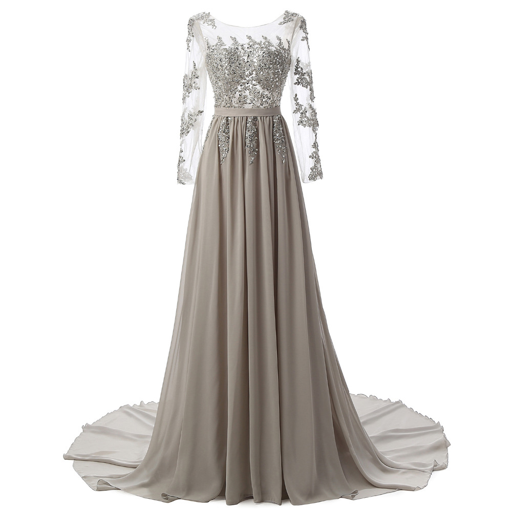 Real Photo Long Sleeves Formal Evening Gown Gray Elegant