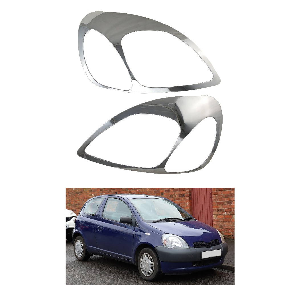 2pcs ABS HEAD LAMP COVER Car Chrome Strips For Toyota Yaris Vitz 1999-2005 XP10  Accessories Headlamps Cover Trim