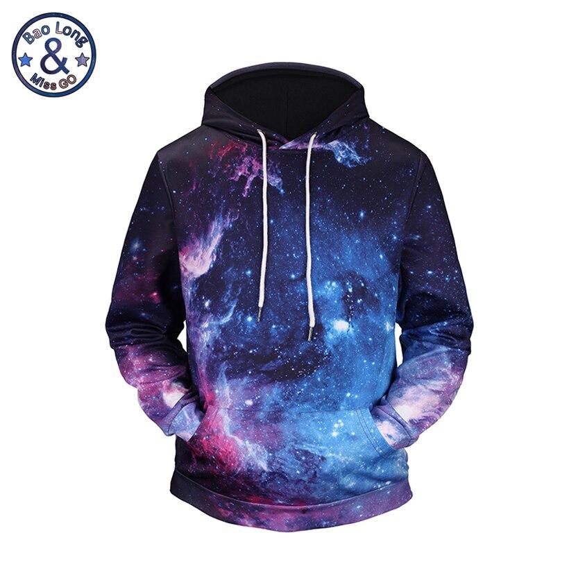 Mr.BaoLong brand men's fashion funny galaxy 3D printed hooded hoodies men and women poket hooded sweatshirts H56