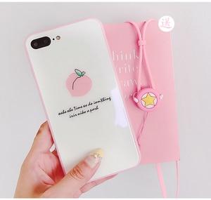 Image 2 - Roze liefde Voor iPhone 8 plus glas back case + front gehard glas voor iPhone X 6 6 splus Perzik case voor iphone 7 7 plus + strap