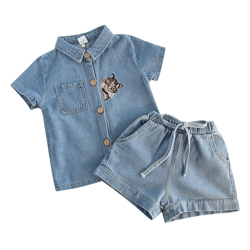 summer baby Cartoon embroidery cowboy short sets girls new fashion clothing child clothing children casual clohtes set ...