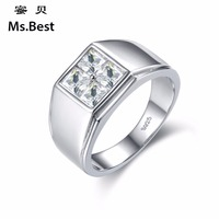 Solid S925 Sterling Silver Ring Men Wedding Band Cubic Zircon Fiance Jewelry Gift For Husband Father