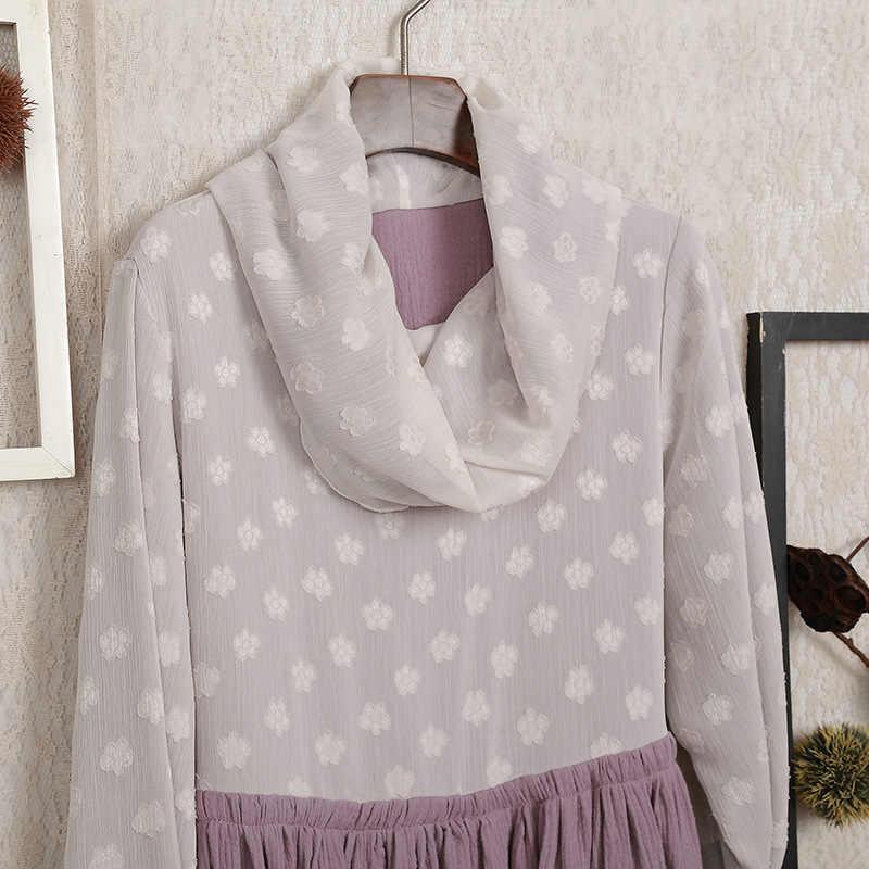秋冬女性ドレス森森ガールスカーフ襟プルオーバードレスエレガントな女性プルオーバー基本ドレスヒッピー Hoho Tunique