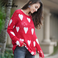 Fitshinling Ripped Heart Female Long Sweater Autumn 2019 Hollow Out Long Sleeve Sweaters Pullovers Women's Clothing Red Jumpers