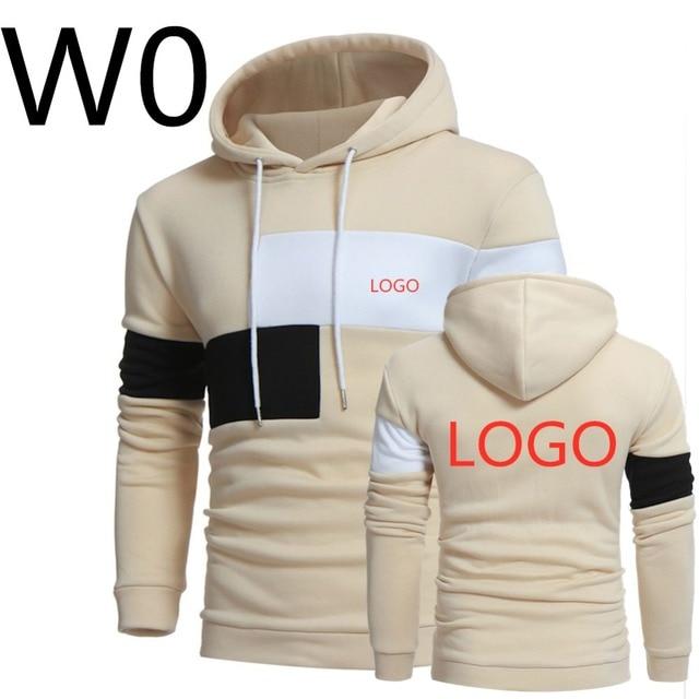 W0 2019 Men's Leisure Harajuku Hoodies Print Logos Hoody Spring Slim Male Patchwork Sweatshirts Man Hooded Sports Streetwear Top 1