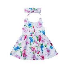 цены на Imcute Kids Children Toddler Baby Girl Princess Dress Floral Pageant Wedding Party Dresses with Headband  в интернет-магазинах