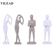 VILEAD 16 White Sand Stone Abstract Man Woman Statue Creative Modern Miniatures Figurine Christmas Decorations for Home Stores
