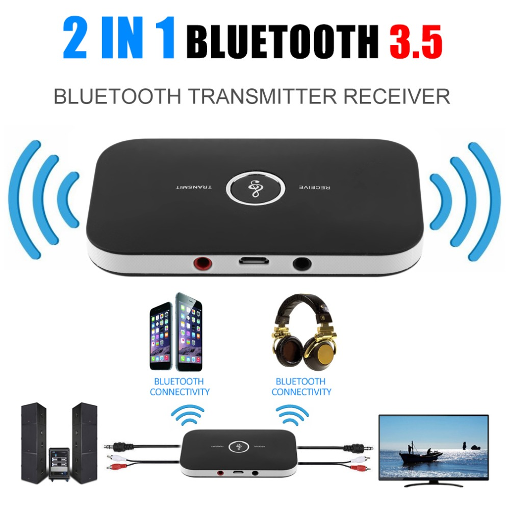 2 In 1 Wireless Stereo Audio Receiver Music Bluetooth Transmitter Receiver Adapter + Digital to Analog Audio Converter Adapter bluetooth audio transmitter receiver 2 in 1 audio music adapter blutooth connect to speaker headsets 3 5mm port aux receptor