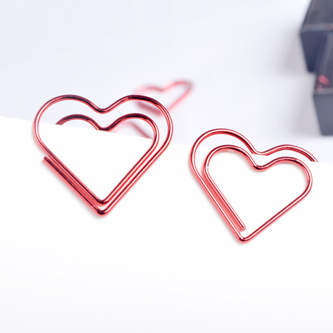 FangNymph Kawaii  Love Heart 10Pcs/pack Metal Material Paper Clip For Book Stationery School Office Supplies Stationery