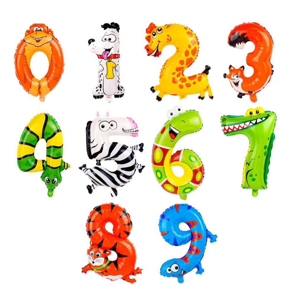 1pc Number Animal Balloons Jungle Party Balloon Safari Baby Shower Decorations Foil Animal Ballon Kids Birthday Party Supplies