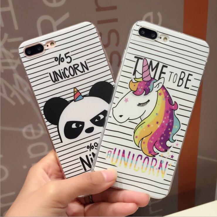 Fashion Cute Cartoon Unicorn Panda Transparent Silicone TPU Phone Case For IPhone X 5 5S SE 6