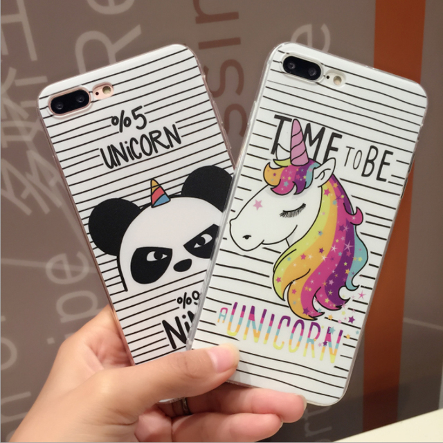 half off 36cc1 ad826 US $2.18 39% OFF Fashion Cute cartoon Unicorn panda Transparent Silicone  TPU Phone Case For iPhone X 5 5S SE 6 6SPlus 7 7Plus 8 8Plus Cover Coque-in  ...