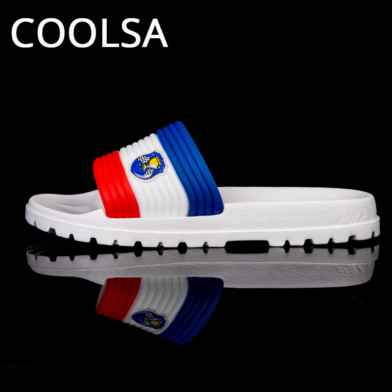 COOLSA New Summer Men Indoor Slippers Mixed Stripe Beach Sandals Flat Soft Non Slip Flip Flop Outdoor Fashion Male Slipper Shoes travel siketu 2017 man stripe flat bath slippers male summer sandals indoor