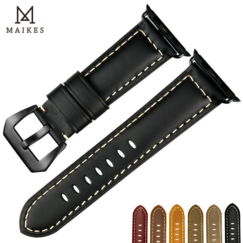 MAIKES Quality watch strap black buckle watchbands watch accessories for Apple Watch band 42mm 38mm series 3/2/1 iwatch bracelet maikes 18mm 20mm 22mm watch belt accessories watchbands black genuine leather band watch strap watches bracelet for longines