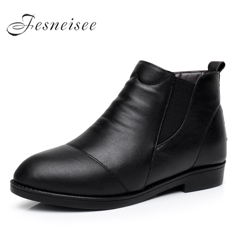 2017 Fashion Autumn Winter Genuine Leather Women Boots Ankle Boots Female Low Heels Platform Comfortable Shoes Plus Size 43 M4.0 autumn and winter new personality retro cowhide ankle boots handsome female waterproof platform genuine leather women shoes 9731
