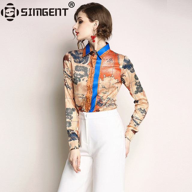 Simgent Women Fashion Printed Elegant Turn Down Collar Long Sleeve Office Business Ladies Blouses and Shirts Womens Tops SG85104