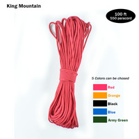 King Mountain Paracord 550 Parachute Cord Lanyard Rope Mil Spec Type III 9 Strand 100FT Climbing