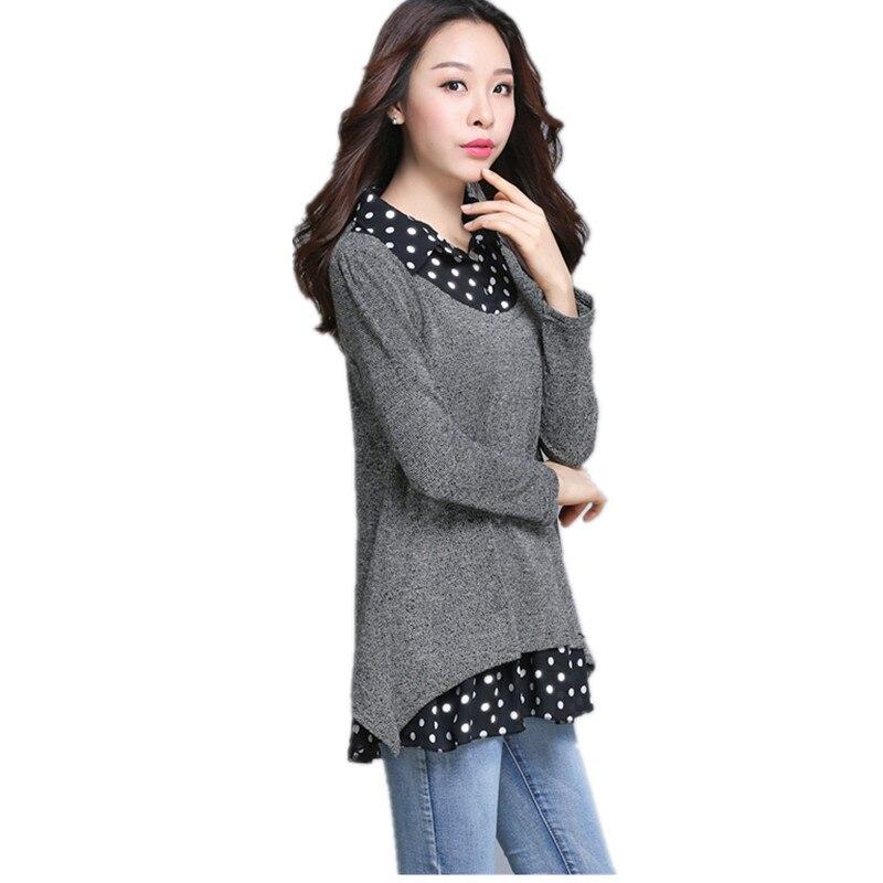 2018 printemps automne grande taille femmes lâche Point imprimer hauts femme à manches longues col de chemise T-shirt femmes gris fond 161 - 4