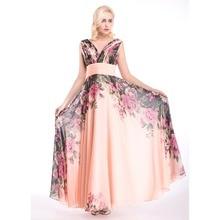 Atemberaubende 2016 drucken Blume Abendkleid Partei-Kleid A-line bodenlangen Sexy V-Ausschnitt Abendkleider in Lager Vestido De Festa