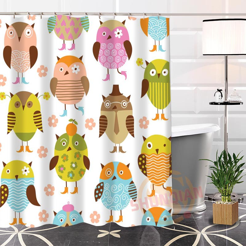 Cartoon Picture Owl Shower Curtains Waterproof Fabric Bathroom Curtain Custom Shower Curtain For Home Decor