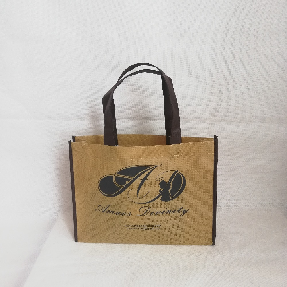 Wholesale 500 pcs lot 25Hx20x8cm Custom Reusable Non woven Shopping Tote Bags with One Color Logo