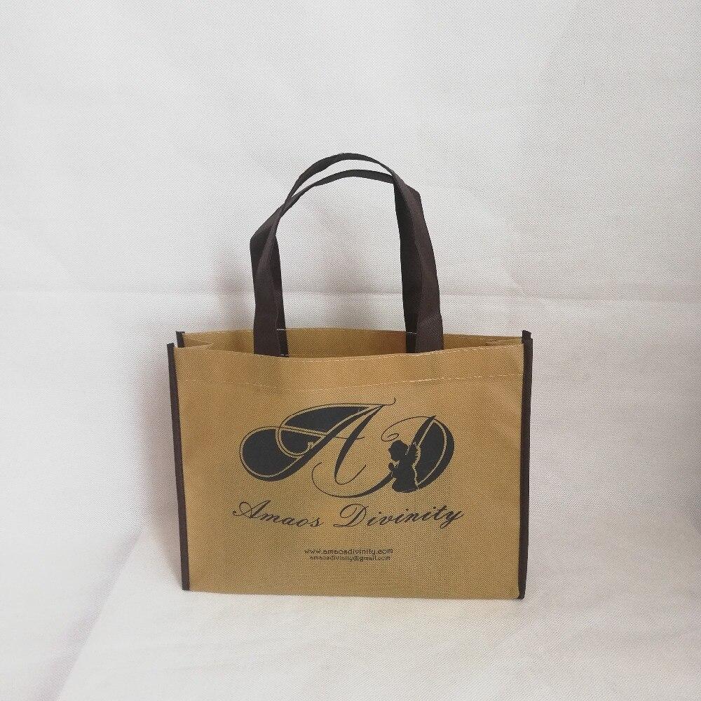 Bagaj ve Çantalar'ten Alışveriş Poşetleri'de Toptan 500 adet/grup 25Hx20x8cm Özel Kullanımlık Olmayan dokuma alışveriş taşıma çantası Tek Renk Logo Baskılı Promosyon Saklama Çantası'da  Grup 1