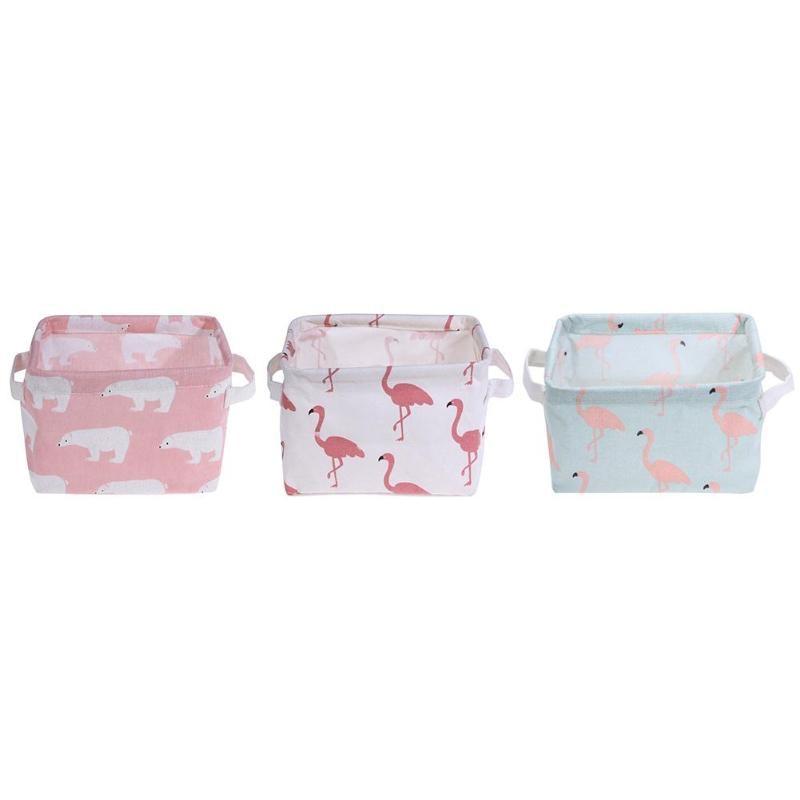 Cartoon Toy Storage box Fold Cotton Linen Desktop Cosmetics Sundries Storage Basket Home Organizer Kids Organizer Makeup