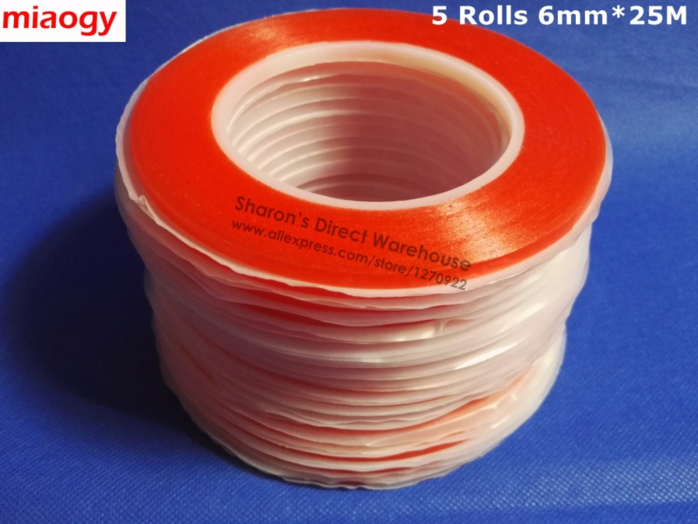 Miaogy 5 Rolls 6mm*25M Strong PET Double Sided Adhesive Tape for Auto Car ABS Plastic Panel, Battery Glass Bond miaogy 5 rolls 6mm 25m strong pet double sided adhesive tape for auto car abs plastic panel battery glass bond