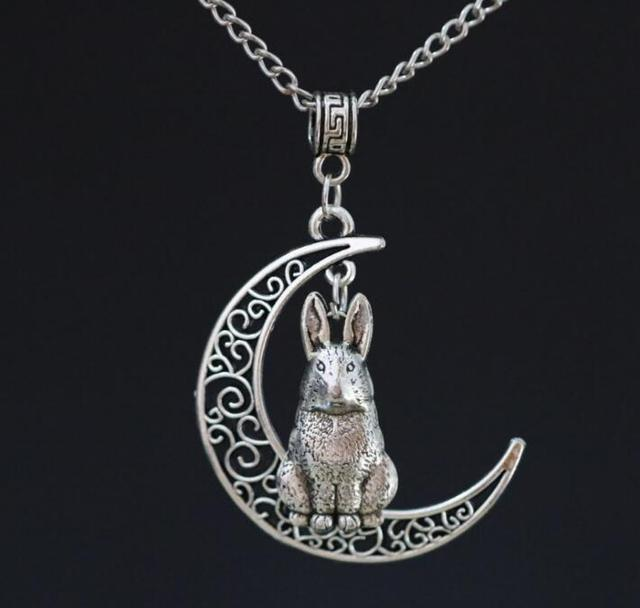 New crescent moon hare rabbit bunny pendant ancient silver charms new crescent moon hare rabbit bunny pendant ancient silver charms metal chain necklace gift aloadofball Images