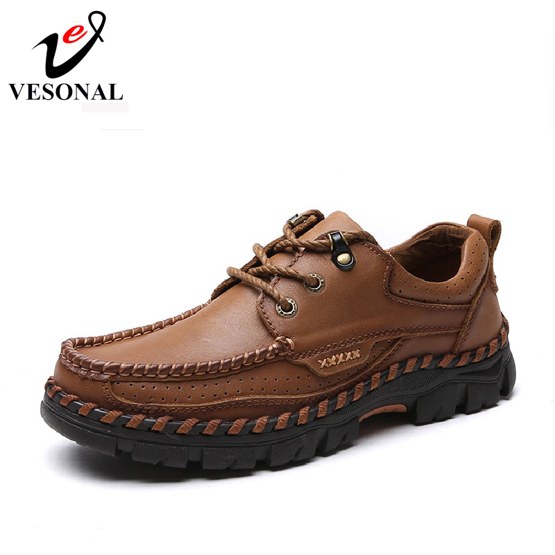 VESONAL حار بيع 2017 جديد العلامة التجارية جلد طبيعي عارضة الذكور الأحذية للرجال الكبار جودة الخريف المشي تنفس الرجل الأحذية-في أحذية رجالية غير رسمية من أحذية على  مجموعة 2