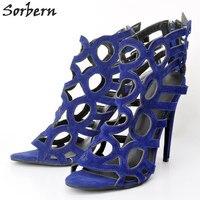 Sorbern Blue Women Sandals Shoes Women Sandals High Heels Open Toe Shoes Plus Size China 34