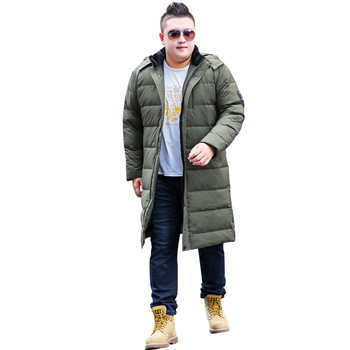 2019 Men's Winter Jacket Fashion Hooded Warm Cotton Casual Jacket Men's Long Over Knee Oversized XL-8XL 9XL 10XL  Black Jacket