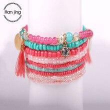 Bohemian Multilayer Candy Color Crystal Beads Tassel Charm Bracelets & Bangles Set Elastic Stretch Women Jewelry Pulseras mujer-cashback