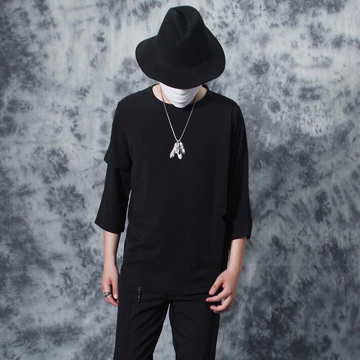 2019 été nouvelle personnalité asymétrie hommes T-shirt mâle métal plumes zipper lâche manches courtes T-shirt hommes camisa masculina