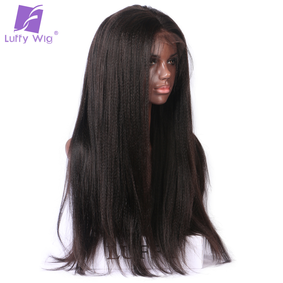 Glueless Full Lace Wigs For Black Women Yaki Straight Brazilian Non Remy  Human Hair ac0881142b