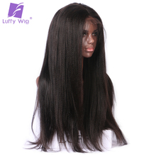 Luffy Pre Plucked 5*4.5 Inch Silk Base Glueless Full Lace Wigs For Black Women Yaki Straight Brazilian Non Remy Human Hair