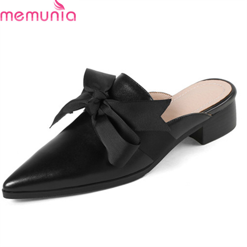 MEMUNIA 2018 top quality genuine leather simple summer shoes sweet bowknot women slippers 4cm square heel mules shoes woman memunia 2018 new arrive women summer sandals sweet bowknot casual shoes simple buckle comfortable square heele shoes woman