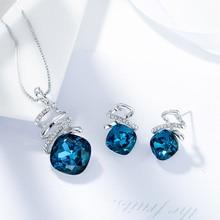 Blue Crystal Pendant & Stud Earrings Set for Women