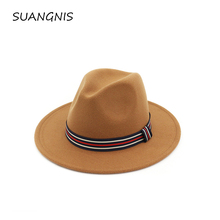 Woolen Felt Hat Panama Trilby Jazz Fedoras hats with Colorful Belt Flat Brim For