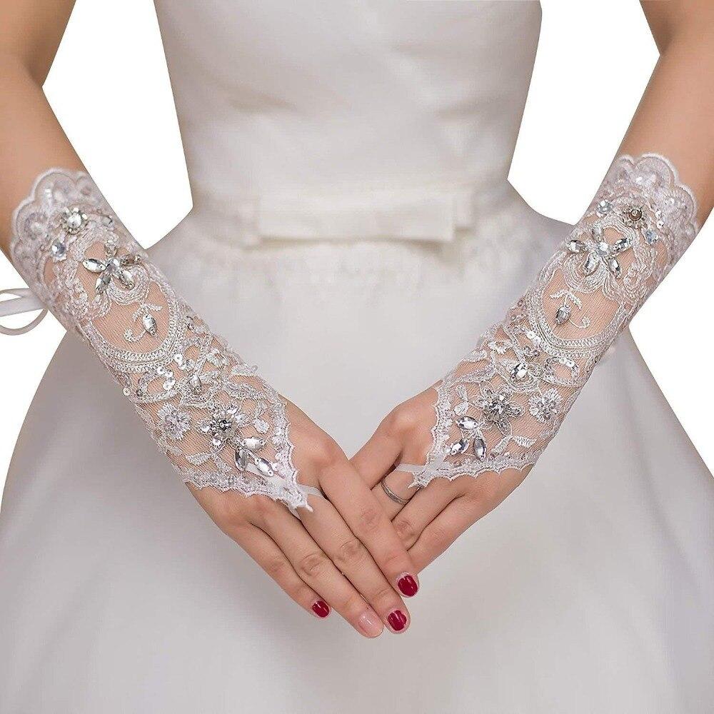 2019 neue Günstige 1 Paar Hochzeit Handschuhe Für Braut Kristall Perlen Hochzeit Zubehör Barato novia