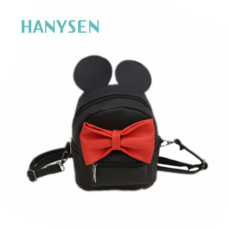 HANYSEN 2017 Hot Sale Women High Quality PU Leather Mickey Big Ear Sweet Bow Backpacks Preppy