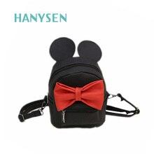 Hanysen 2017 Лидер продаж женские Высокое качество искусственная кожа Микки большими ушами сладкий лук рюкзаки элегантный дизайн одноцветное Цвет студенты сумки