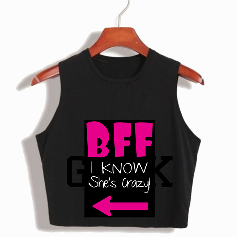 Couple Tank Top BBF She Thinks I M Crazy Womens Crop Tops T Shirt Harajuku Cute