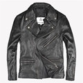 2017 New Men Leather Motorcycle Jacket Oblique Zipper Genuine Sheepskin Black Short Slim Fit Men Winter Biker Coat FREE SHIPPING