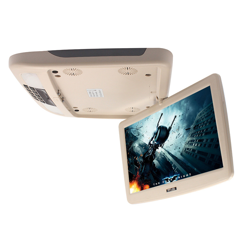 Beige 12 Inch Flip Down Minitor TFT LCD Monitor With MP5 Player Car Roof Mount Monitors MP5 Player 9 inch tft lcd car hdmi monitor roof mount ceiling flip down for peugeot display dvd player with two video input slim hd monitor