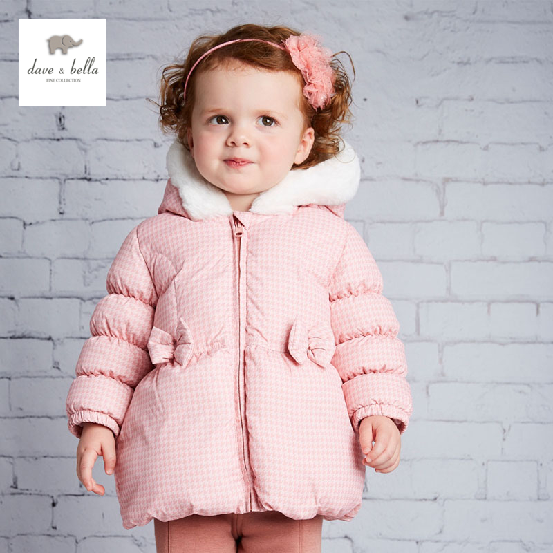DB4085 dave bella winter  baby girls pink grey bow cute  white duck down coat подвесной светильник alfa italia bianko 20071