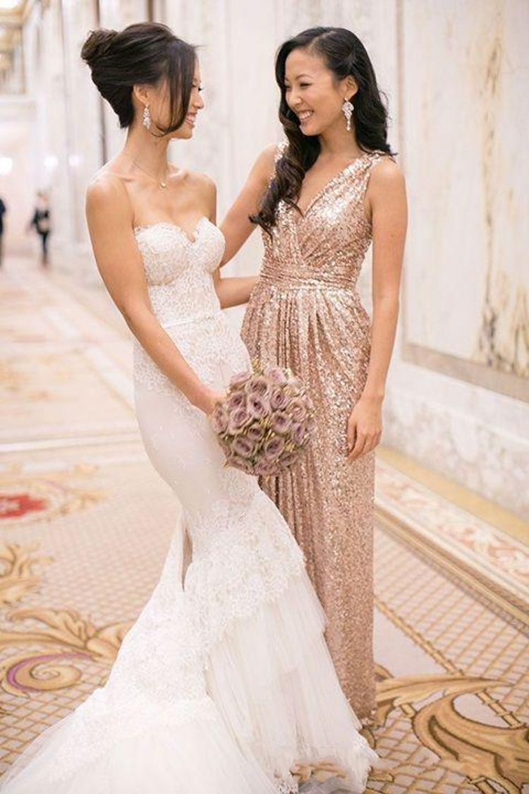 Bling Rose Gold 2016 Cheap Bridesmaid Dresses for Beach Wedding Party V  Neck Sequins Long Maid of Honor Dress Champagne Gowns-in Bridesmaid Dresses  from ... d00326255e00